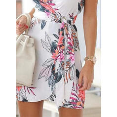Print/Floral Sleeveless Sheath Above Knee Casual/Vacation Wrap/Slip Dresses
