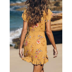 Print/Floral Short Sleeves Sheath Above Knee Casual/Boho/Vacation Dresses