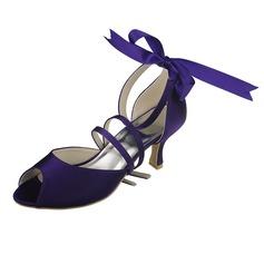 Frauen Satin Spule Absatz Peep Toe Sandalen mit Satin Schnürsenkel