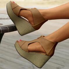 Women's Suede Wedge Heel Sandals Peep Toe With Zipper shoes