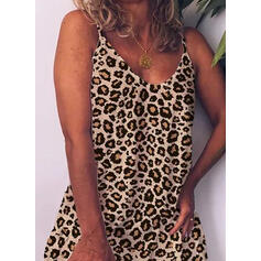 Leopard Sleeveless Shift Above Knee Casual Slip Dresses
