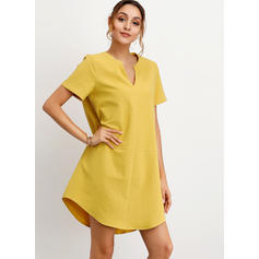 Solid Short Sleeves Shift Above Knee Casual T-shirt Dresses
