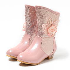 Girl's Leatherette Low Heel Closed Toe Mid-Calf Boots Boots Flower Girl Shoes With Flower