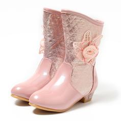 Dziewczyny Skóra ekologiczna Niski Obcas Zakryte Palce Połowy łydki buty Kozaki Buty Flower Girl Z Kwiaty