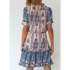 Print Short Sleeves A-line Knee Length Casual/Boho Skater Dresses