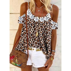 Print Floral Leopard Cold Shoulder Short Sleeves Casual Blouses
