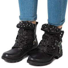Women's PU Low Heel Flats Boots Mid-Calf Boots With Hollow-out shoes