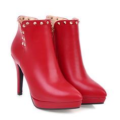 Women's PU Stiletto Heel Pumps Platform Closed Toe Boots Ankle Boots With Rivet Zipper shoes