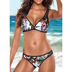 Kwiatowy Nadruk Siatka W prążki Seksowny Modny Bikini Stroje kąpielowe
