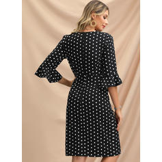 PolkaDot 1/2 Sleeves/Flare Sleeves Bodycon Knee Length Party/Elegant Wrap/Pencil Dresses