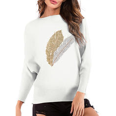 Print Ribbed Round Neck Sweaters