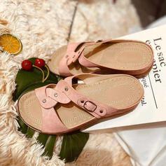 Donna PU Senza tacco Sandalo Punta aperta Ciabatte con Fibbia scarpe