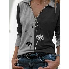 Print Color Block Dandelion Lapel Long Sleeves Casual Blouses