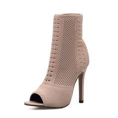 Femmes Tissu Talon stiletto Escarpins Bottes À bout ouvert Bottes mi-mollets avec Autres chaussures