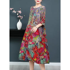 Print/Floral 1/2 Sleeves Shift Midi Casual Dresses
