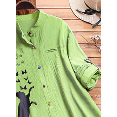 Stampa Benda Collare Maniche lunghe Bottone Casuale Maglieria Camicie