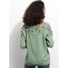 Csipke Kerek nyak 1/2-es ujjú Hétköznapokra Κομψό robić na drutach Μπλουζάκια
