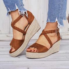 Donna Camoscio Zeppe Sandalo Punta aperta con Fibbia scarpe