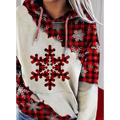 Print Grid Pockets Long Sleeves Christmas Sweatshirt
