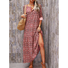 Print 1/2 Sleeves Shift Casual/Vacation Maxi Dresses