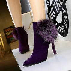 Women's Suede Stiletto Heel Ankle Boots With Zipper Faux-Fur shoes