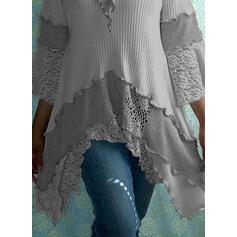 Bloque de Color Encaje Cuello Redondo Casuales Suéteres