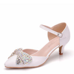 Women's Leatherette Low Heel Closed Toe Pumps Sandals With Bowknot Crystal