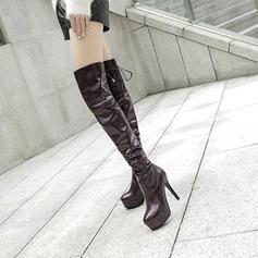 Femmes PU Talon stiletto Escarpins Plateforme Bottes Bottes hautes avec Dentelle chaussures