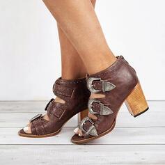 Mulheres PU Salto robusto Bombas com Fivela Oca-out sapatos
