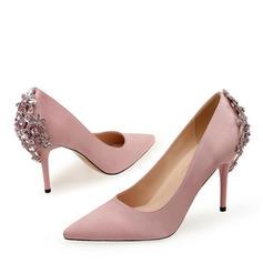Women's Silk Like Satin Stiletto Heel Pumps With Rhinestone shoes