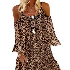 Leopardo Manga Larga/Top sin hombros Tendencia Sobre la Rodilla Casual/Vacaciones Vestidos