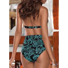 Bladeren Print push up Halter Sexy Aantrekkelijk Bikini's Badpakken