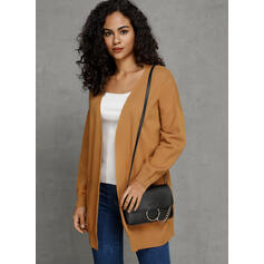 Solid Pocket Plain Casual Cardigan