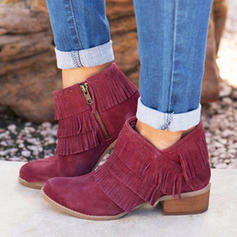 Women's PU Flat Heel Flats Boots Ankle Boots With Tassel shoes