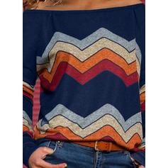 Print Off the Shoulder Lange Mouwen Casual Breiwerk T-shirts