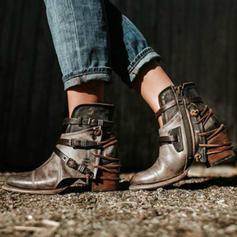 Női PU Chunky sarok Magassarkú Csizma Mid-Calf Csizma -Val Csat cipő