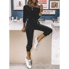 Solid One Shoulder Long Sleeves Casual Jumpsuit