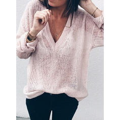 Solid V-Neck Long Sleeves Casual Sexy Knit T-shirts