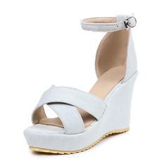 Mulheres Lona Plataforma Sandálias Calços com Fivela sapatos