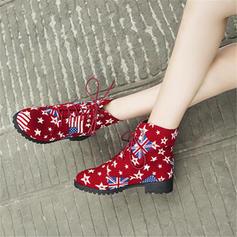 Femmes Toile Talon plat Chaussures plates Bottes avec Dentelle chaussures
