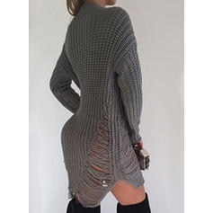 Solid Ribbed Chunky knit Round Neck Casual Sweater Dress