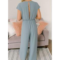 Solid V-Neck Short Sleeves Elegant Jumpsuit
