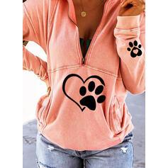Motif Animal Cœur Col à Revers Manches longues Sweat-shirts