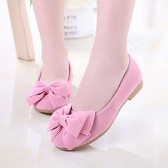 Girl's Suede Flat Heel Closed Toe Flats Flower Girl Shoes With Bowknot