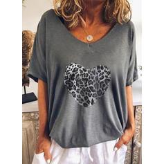 lampart Serce Nadruk Dekolt w kształcie litery V Rękawy 1/2 T-shirty