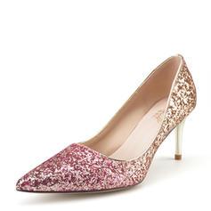 Femmes Pailletes scintillantes Talon stiletto Escarpins Bout fermé avec Autres Lanière tressé Semelle Élastique chaussures
