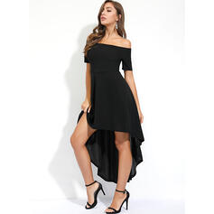 Solid Short Sleeves A-line Asymmetrical Little Black/Party/Elegant Skater Dresses