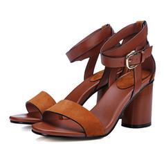 Frauen Echtleder Stämmiger Absatz Sandalen Absatzschuhe Peep Toe mit Schnalle Schuhe