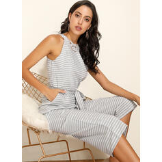 Striped Sleeveless Casual Jumpsuits Dresses