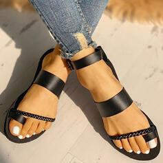 Women's PU Flat Heel Sandals Flats Peep Toe Slippers Toe Ring With Buckle shoes